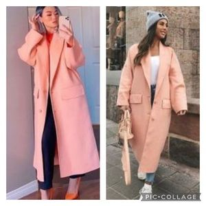 NWT Zara *Blogger Fave* Oversized Peach Coat